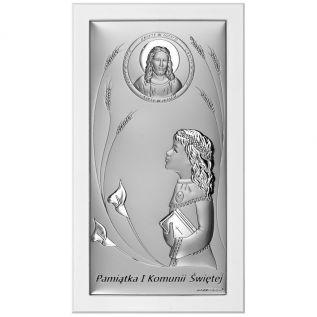 Pamiątka Pierwszej Komunii Świętej srebrny obrazek z dziewczynką 11x20 cm