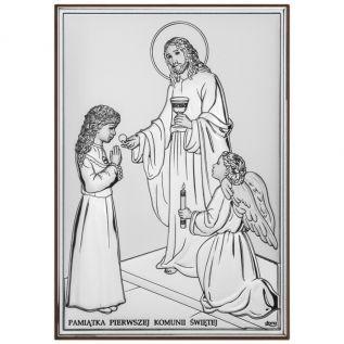 Obrazek Srebrny Pamiątka I Komunii dla dziewczynki 13x18 cm
