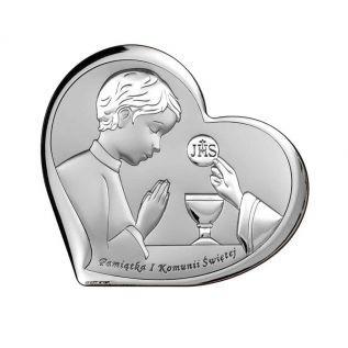 Pamiątka Pierwszej Komunii Świętej OBRAZEK srebrne serce z chłopcem 11x9,6 cm