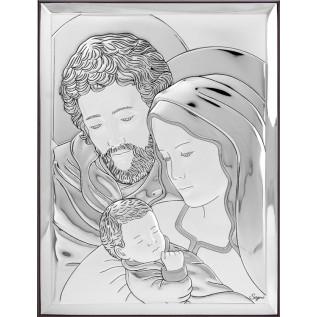 Pamiątka na Chrzest/Komunię OBRAZEK srebrny Święta Rodzina 13x18 cm
