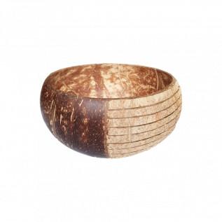 Naturalna miska z łupiny kokosa - grawer paski