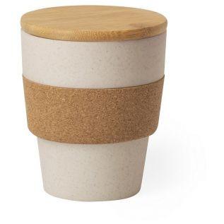 Bambusowy kubek podróżny 350 ml z korkowym wieczkiem i obręczą