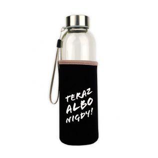 Butelka szklana w neoprenowym etui 500 ml Teraz albo nigdy! CZARNA