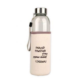 """Butelka szklana w neoprenowym etui 500 ml """"Padłaś? Powstań!"""" KREMOWA"""