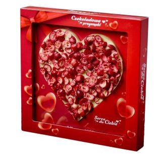 Czekoladowe serce BIAŁE z owocami ŻURAWINA 150g HANDMADE