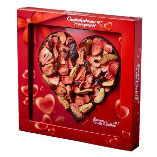 Czekoladowe serce CZARNE z owocami ŚLIWKA, TRUSKAWKA 150g HANDMADE