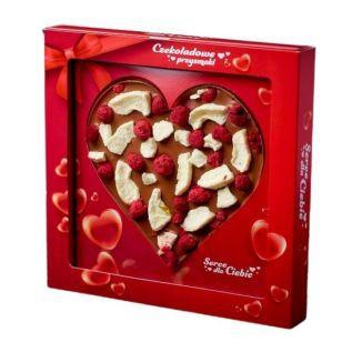 Czekoladowe serce MLECZNE z owocami JABŁKO, MALINA 150g KRÓTKI TERMIN