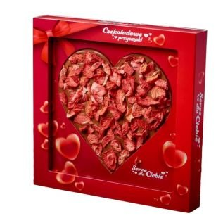 Czekoladowe serce MLECZNE z owocami TRUSKAWKA 150g KRÓTKI TERMIN