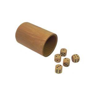 Gra w kości - drewniany kubek + 5 kostek