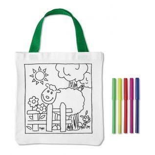 Kolorowanki dla dzieci - bawełniana torba OWIECZKA + mazaki