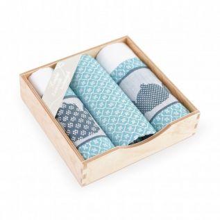 Ręczniki kuchenne bawełniane KOMPLET z motywem czajnika TURKUSOWY
