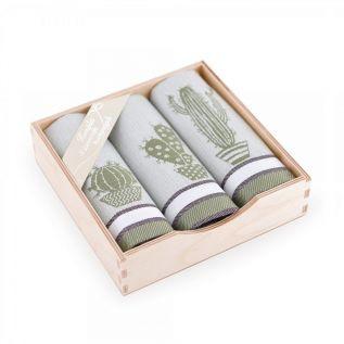 Ręczniki kuchenne bawełniane KOMPLET z motywem kaktusa OLIWKOWY