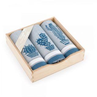 Ręczniki kuchenne bawełniane KOMPLET z motywem kaktusa TURKUSOWY