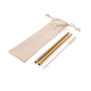 Słomki bambusowe 2 szt. w woreczku