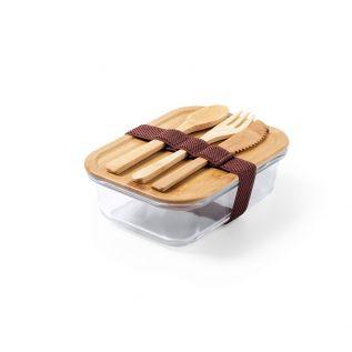 Szklane pudełko śniadaniowe/lunchbox - bambusowe wieczko i sztućce – 700 ml