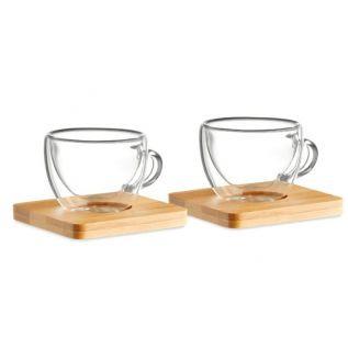 Zestaw szklanek do espresso, bambusowe podkładki 2szt EKO