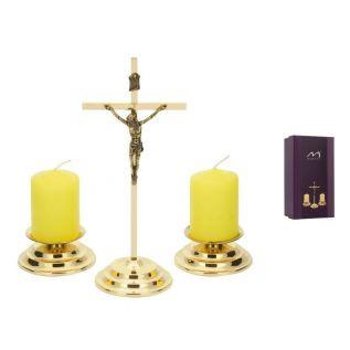 Komplet kolędowy mosiężny MORELI krzyżyk, świeczniki, świece pieńkowe ZŁOTY 3