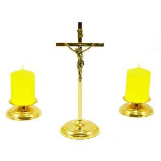 Zestaw kolędowy MORELI krzyżyk, świeczniki, świece pieńkowe ZŁOTY