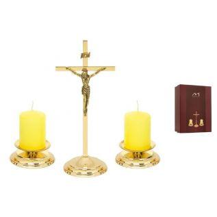 Zestaw kolędowy mosiężny MORELI krzyżyk, świeczniki, świece pieńkowe ZŁOTY 2