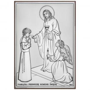 Pamiątka Pierwszej Komunii Świętej OBRAZEK srebrny dla chłopca 13x18 cm