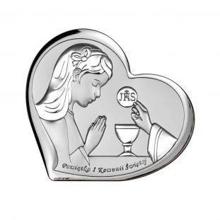 Pamiątka Pierwszej Komunii Świętej OBRAZEK srebrne serce z dziewczynką 11x9,6 cm